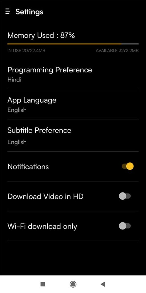 All Setting in Viu Mod App
